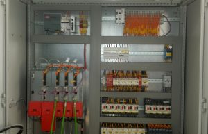 Control cabinet with a PLC controller and SERVO inverter