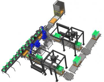 linia zamykania wiader z robotem przemysłowym